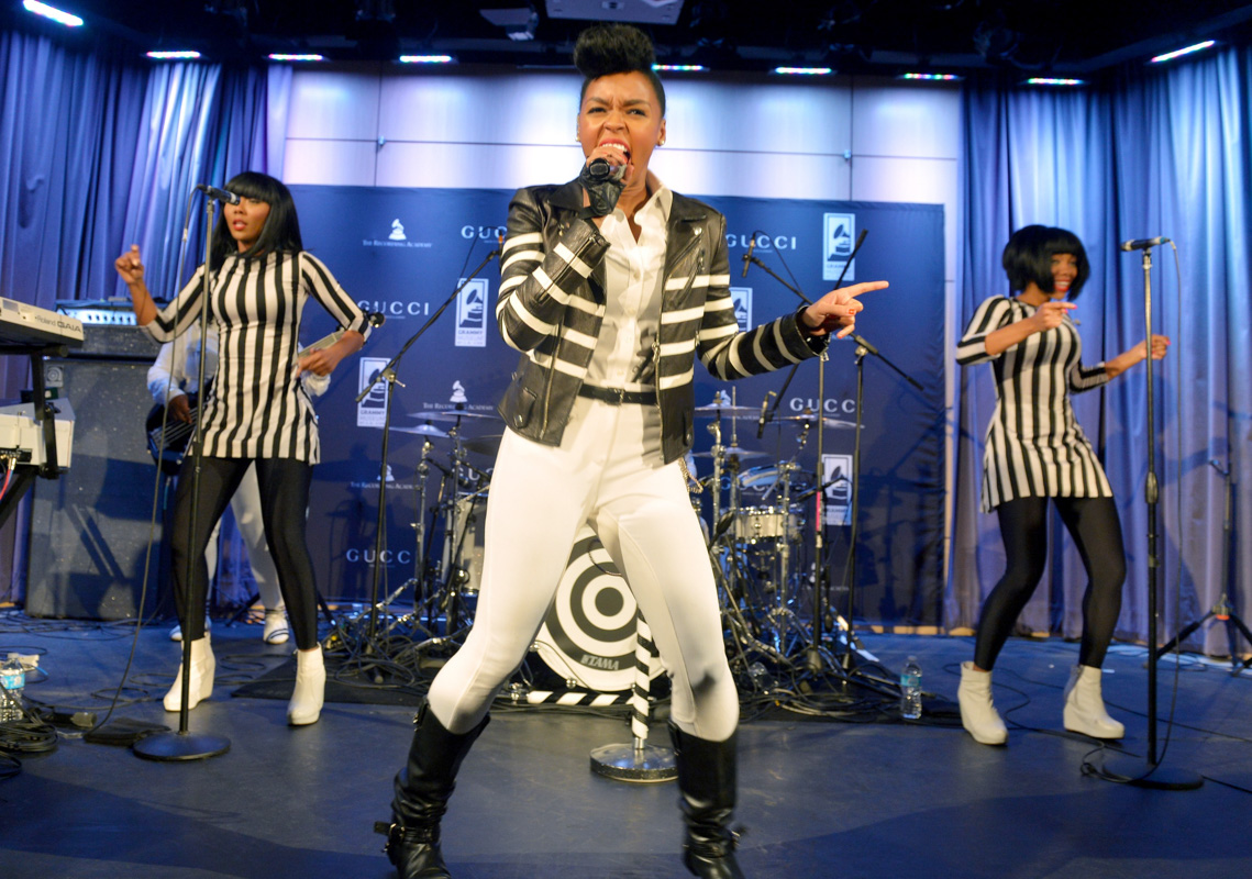 LOS ANGELES, CA - JANUARY 25:  Janelle Monae performs onstage wearing the new Gucci GRAMMY Timepiece to celebrate the partnership between Gucci Timepieces & Jewelry and The Recording Academy at The GRAMMY Museum on January 25, 2014 in Los Angeles, California.  (Photo by Charley Gallay/WireImage) *** Local Caption *** Janelle Monae