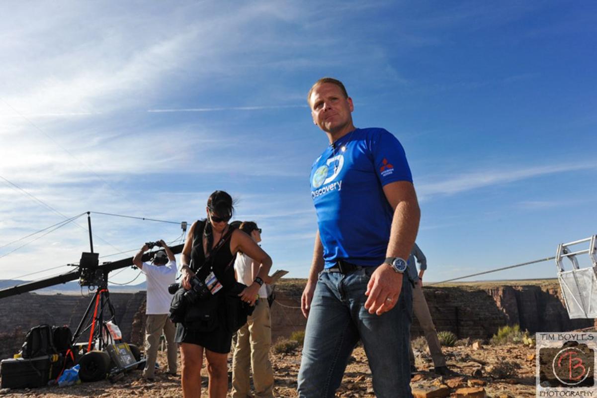 Nik Wallenda getting ready to walk over the Grand Canyon wearing a Jeanrichard timepiece